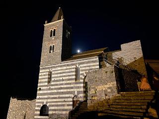San Pietro Church (Porto Venere) at night, black and white stone