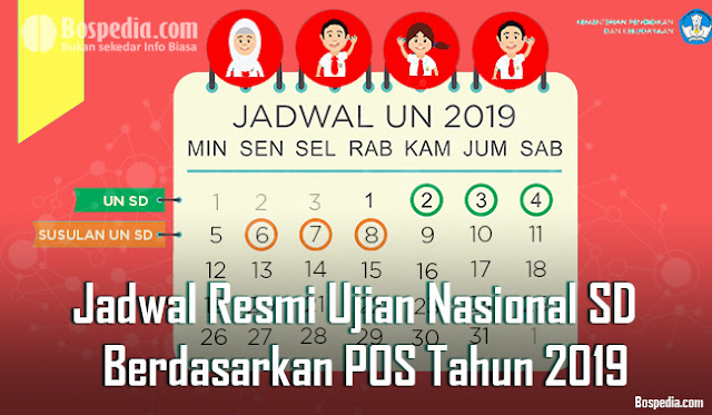 Jadwal Resmi USBN/US/UN SD (Sekolah Dasar) Berdasarkan POS Tahun 2019