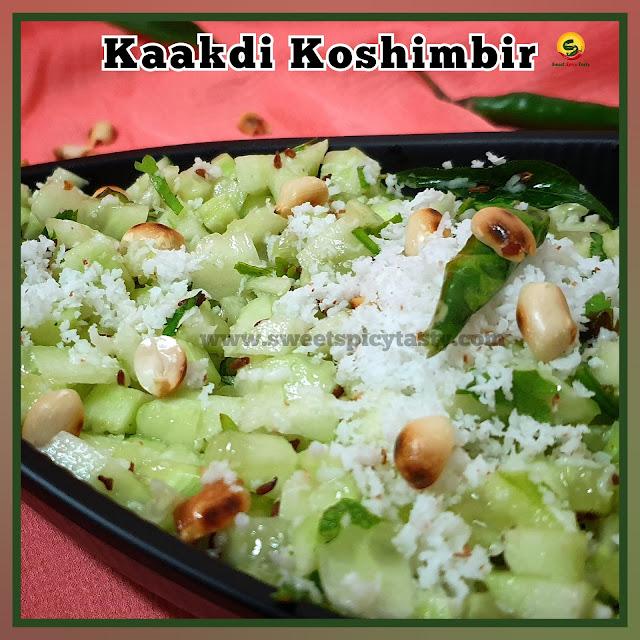 Kaakdi koshimbir is a typical Maharashtrian style cucumber salad with a garnish of fresh coconut and roasted peanuts, kakdi salad , koshimbir , kosambri , kosamri , vellarikaai kosmalli , koshimbir, kakadyachi koshimbir
