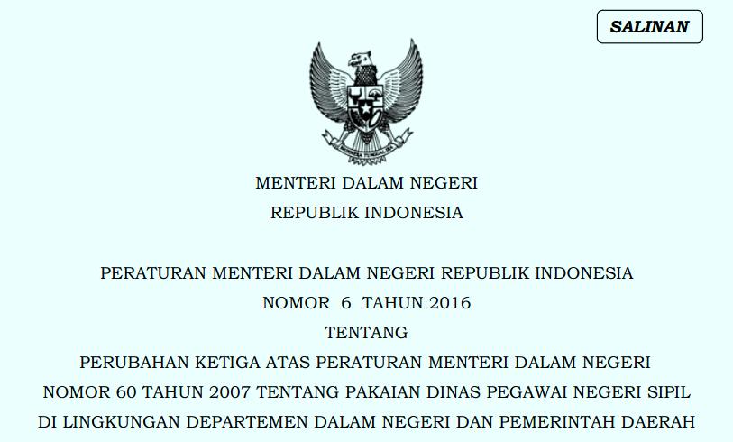 Permendagri Nomor  6 Tahun 2016