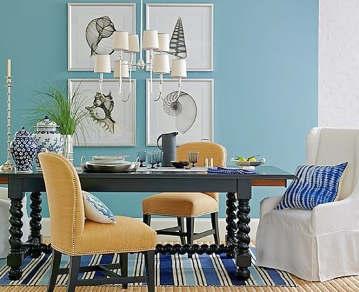 Blue Dining Room with Black Table