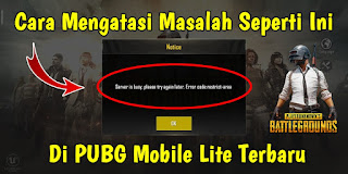 Cara Mengatasi Server is Busy, Please Try Again Later Di PUBG Mobile Lite