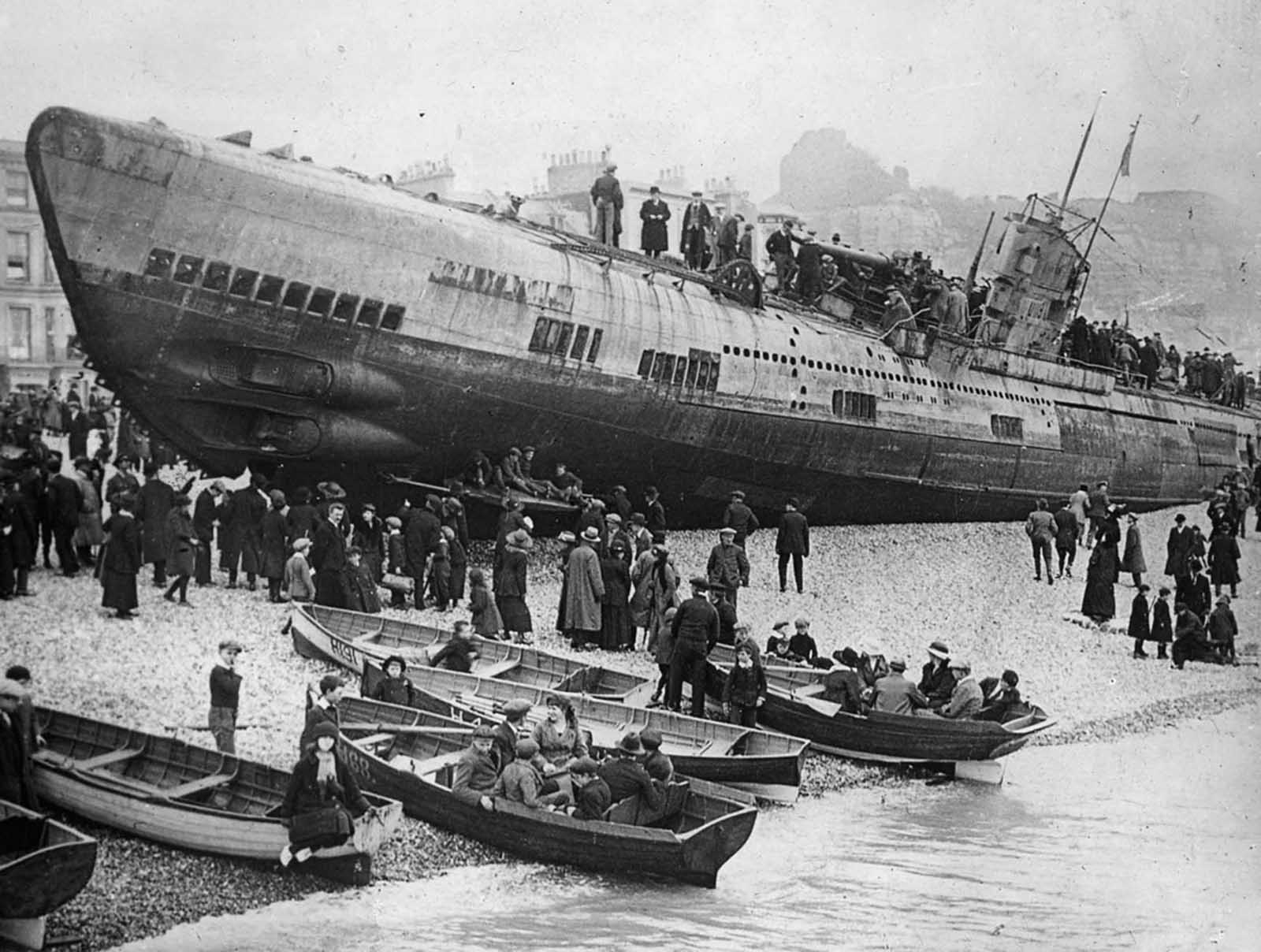 A German U-boat stranded on the South Coast of England, after surrender.