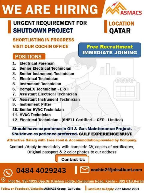 Qatar Jobs, Oil & Gas Jobs, Shutdown Jobs, ASMACS, Electrical Foreman, Instrument Technician, HVAC Technician,