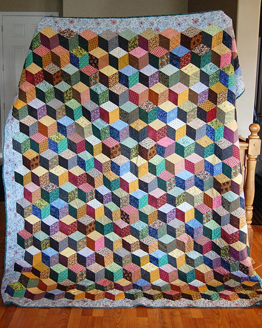 Tumbling Blocks Quilt made by The Cloth Parcel, The Tutorial designed by Teresa DownUnder