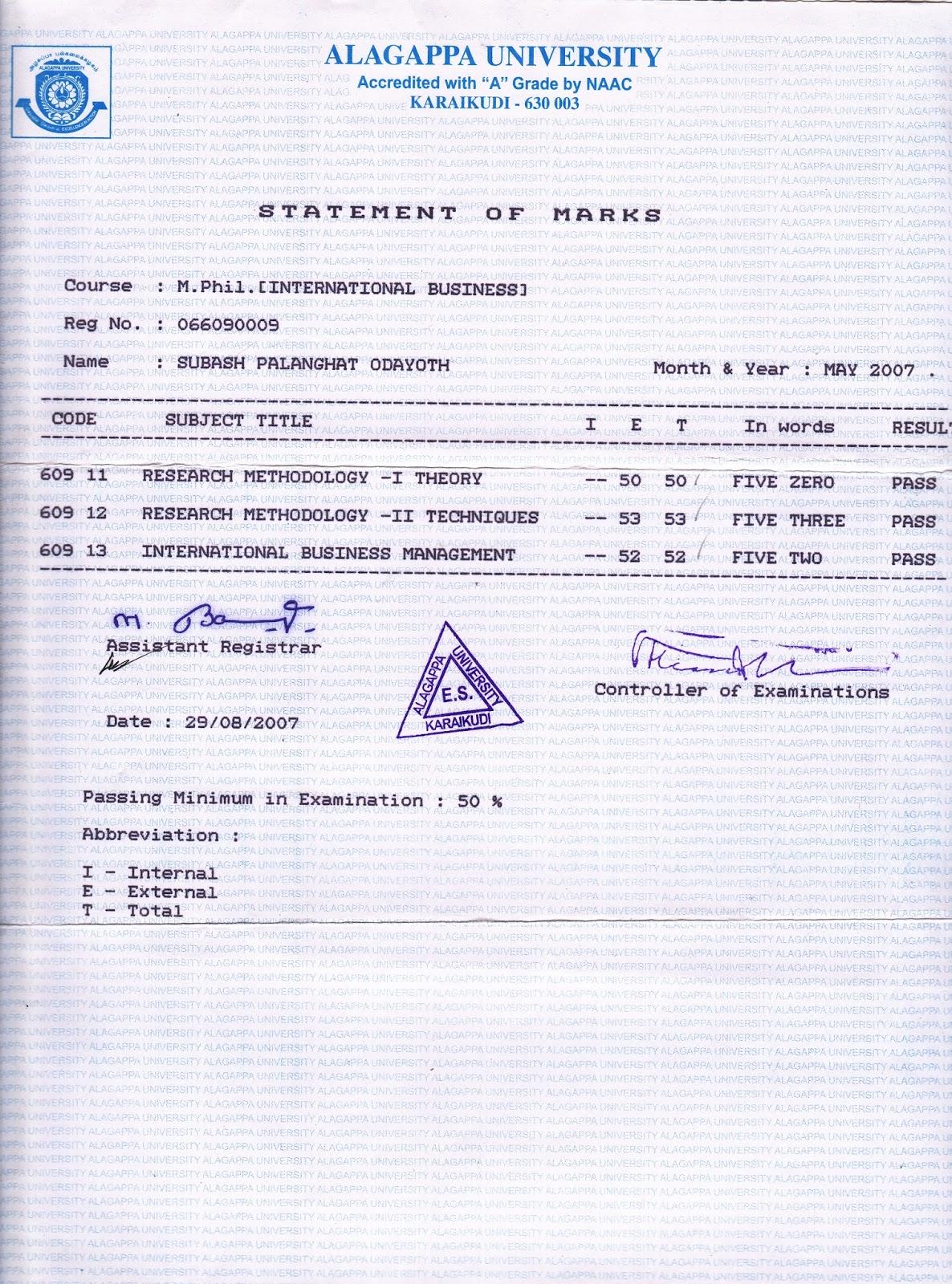 Bangalorecity Mphil Certificate