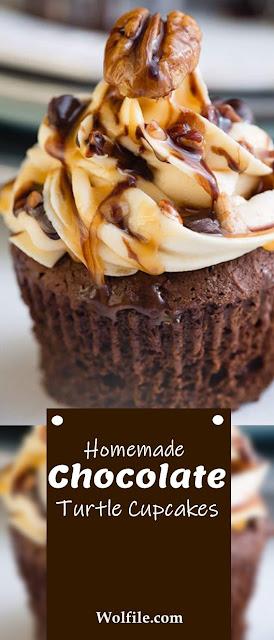 Homemade Chocolate Turtle Cupcakes Recipe #Cupcakes #Chocolate