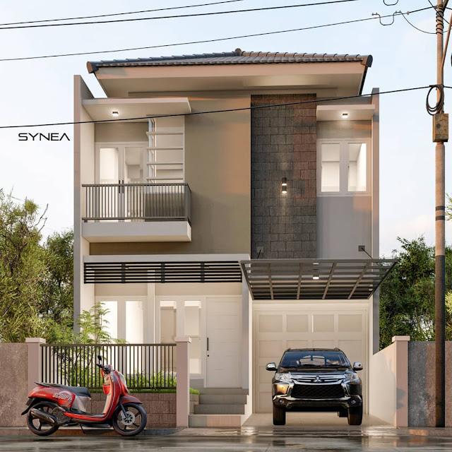 Desain Rumah Minimalis Modern 2 Lantai 7x15 Tampak Depan