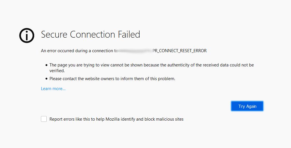 PR_CONNECT_RESET_ERROR connecting to Windows IIS web servers