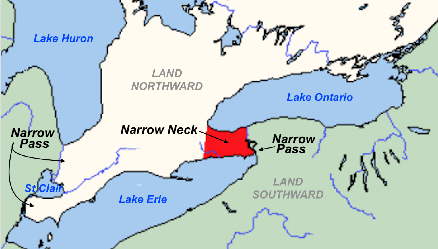 the great lake theorists red area narrow neck of land note that it runs east and west not north and south and that the seas about it are north and