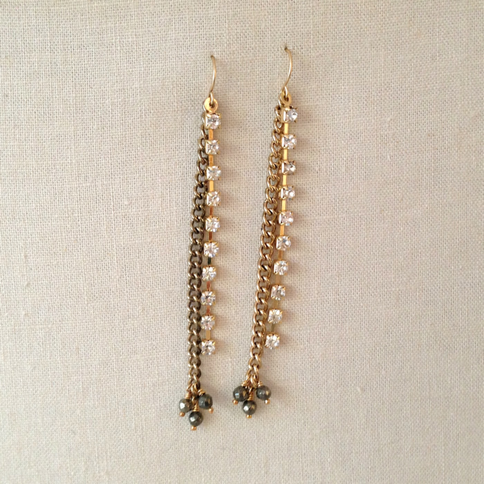 Make in under 30 minutes - chain and wire shoulder duster earrings