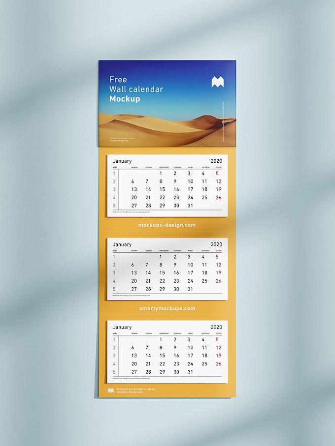 Free 3 Panel Wall Calendar Mockup