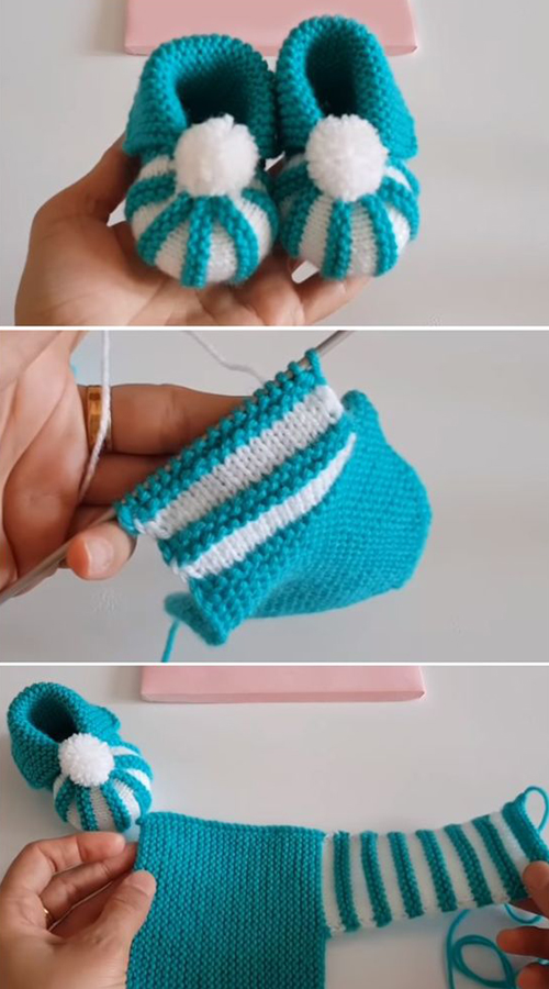 Easy To Make Baby Booties with Pom Pom - Tutorial