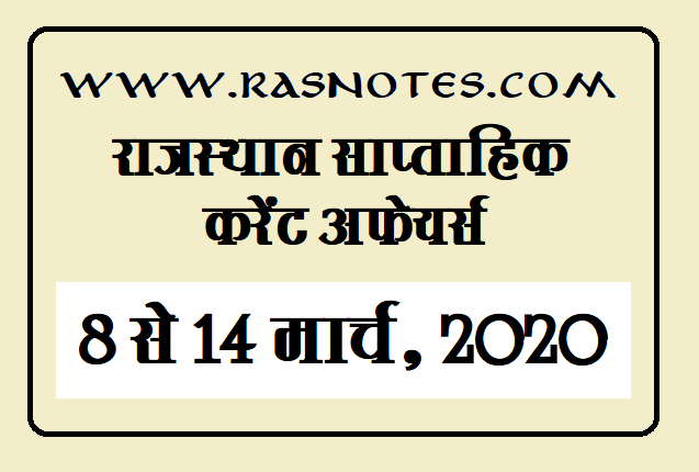 Rajasthan Current affairs in hindi pdf 8-14 March 2020 Current GK
