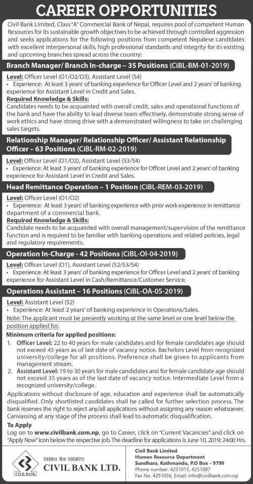 Career Opportunities at Civil Bank Limited.