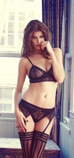 2f800dab8597 Else Lingerie black Zigzag longline bra, thong and suspender belt set