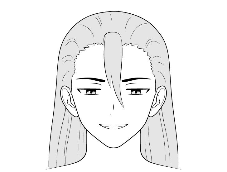 Pria penjahat anime menggambar wajah licik