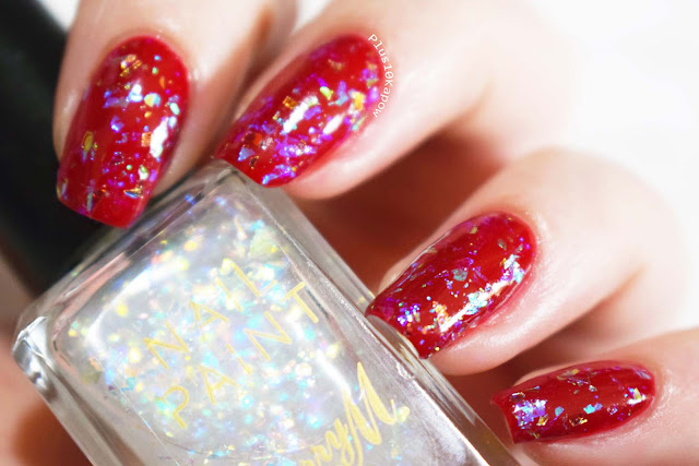 Barry M Fortune Teller Flakie iridescent topcoat swatch and review over Siren