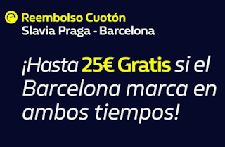william hill reembolso Cuotón Slavia Praga vs Barcelona 23-10-2019