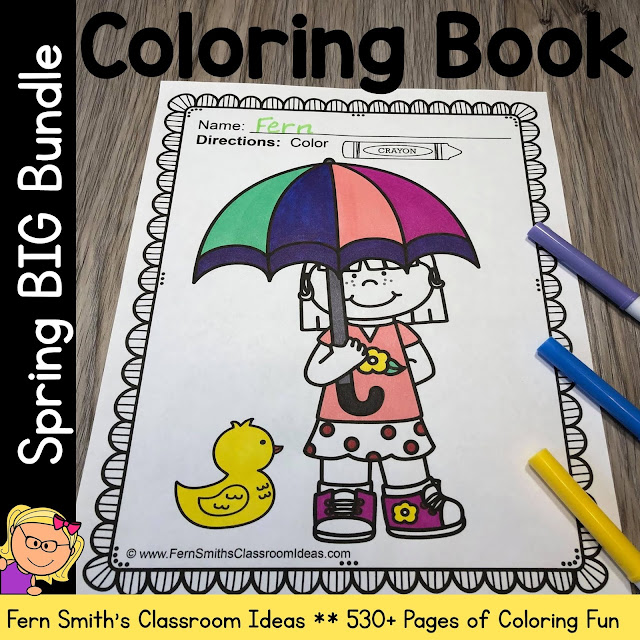 Spring Coloring Pages with Summer and Winter too! Big DISCOUNTED Bundle!  #FernSmithsClassroomIdeas