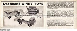 Actualité Dinky Toys et publicité de 1961