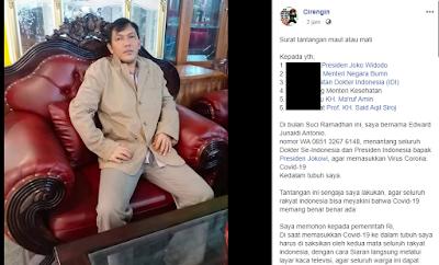 Nekat ! Pria Ini Tantang Presiden Jokowi Masukkan Virus Corona Ke Dalam Tubuhnya dan Disiarkan Live