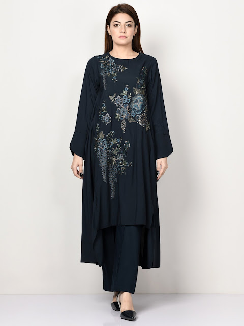 Limelight winter embroidered ready to wear Black long shirt