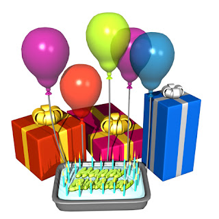 Animation of birthday balloons and gifts