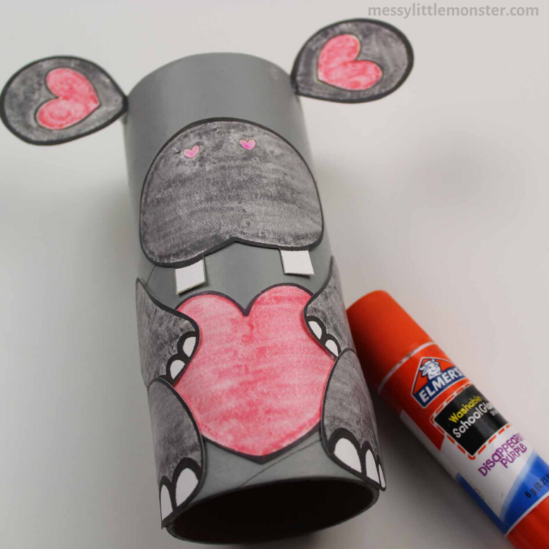 cardboard tube hippo craft for kids