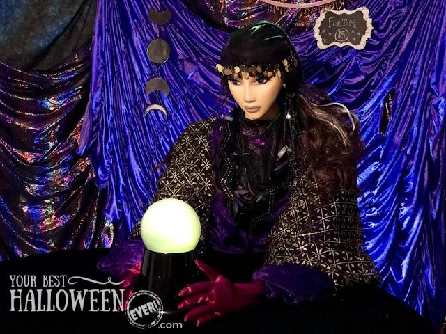 diy halloween character prop, mystical fortune teller in tent with crystal ball, diy halloween mannequin, handmade halloween decor