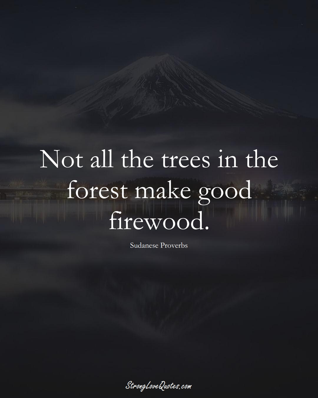 Not all the trees in the forest make good firewood. (Sudanese Sayings);  #AfricanSayings