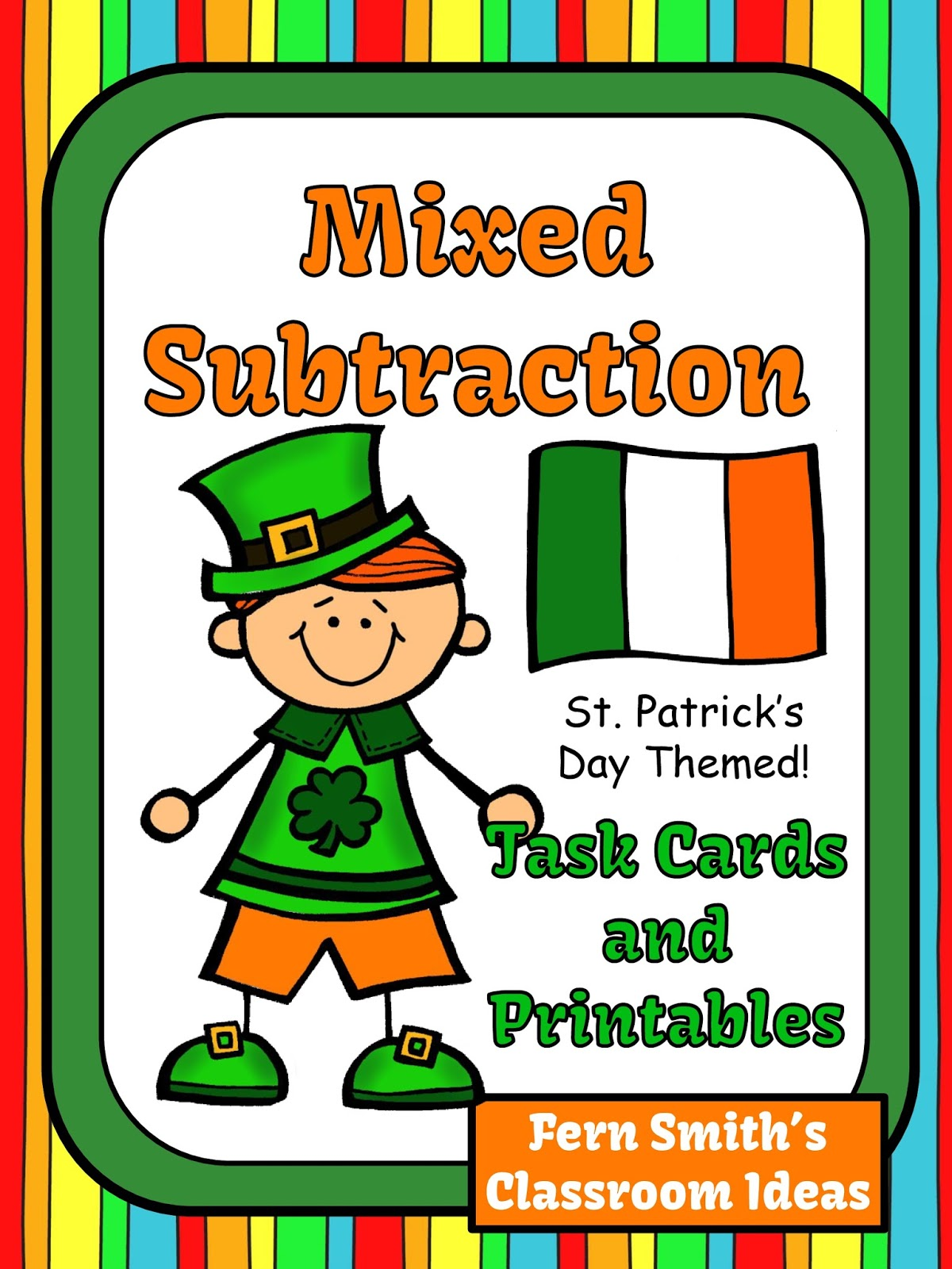 Fern Smith's Classroom Ideas St. Patrick's Day Mixed Subtraction Task Cards and Printables #TPT