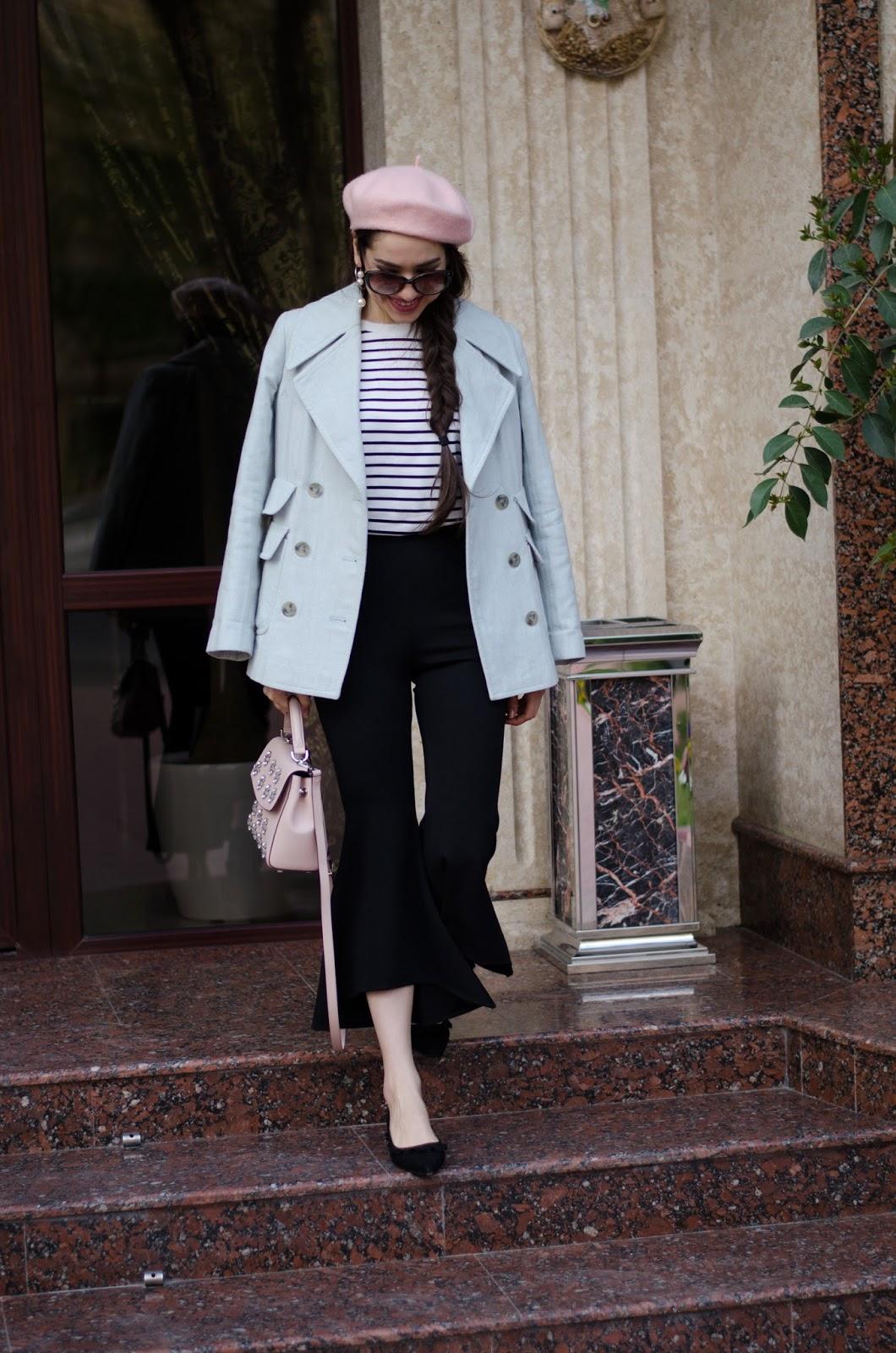 fashion blogger diyorasnotes diyora beta paris style striped top ruffles pink bag michael kors