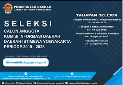 Pengumuman  Penerimaan Calon Anggota Komisi Informasi Daerah (KID) Daerah Istimewa Yogyakarta Periode 2019-2023