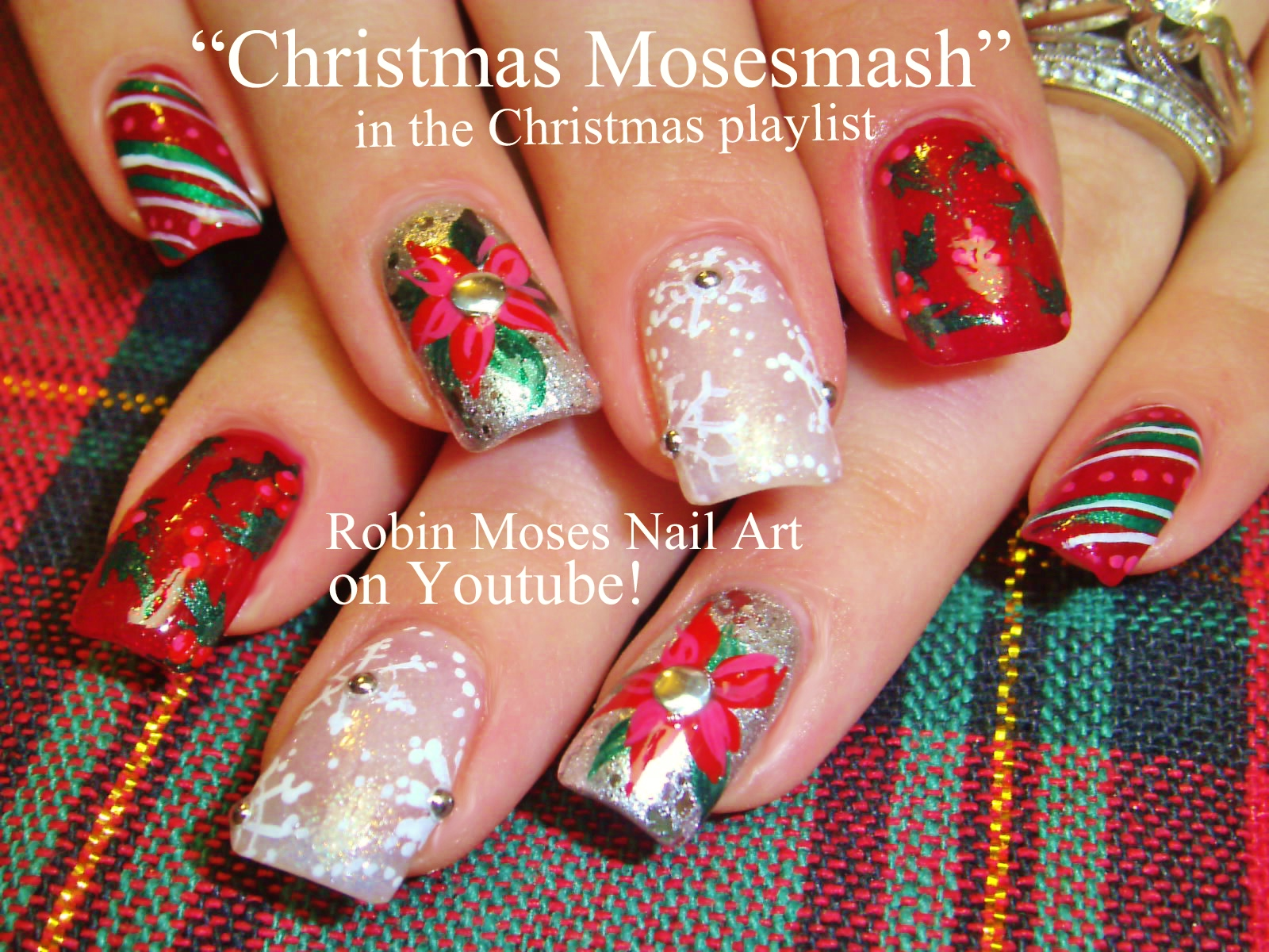 Candy Cane Stripes 3d Christmas Tree Nail Art: Nail Art By Robin Moses: YES! Christmas Candy Cane Stripe
