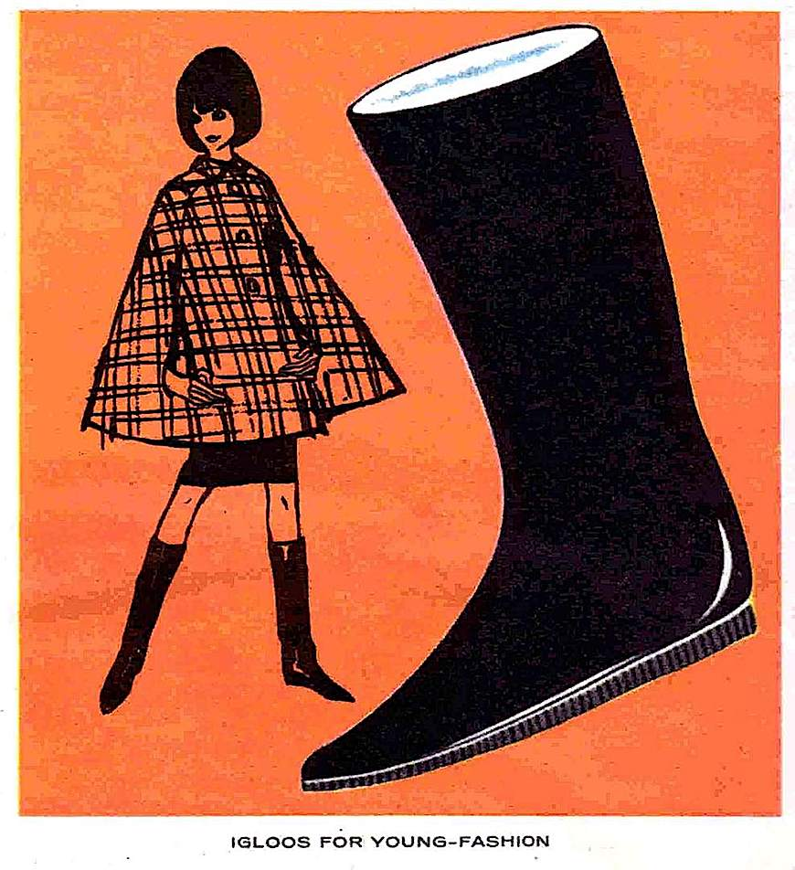"""Igloos for Young-Fashion"", Igloo boots Canada 1964, an illustrated advertisement"