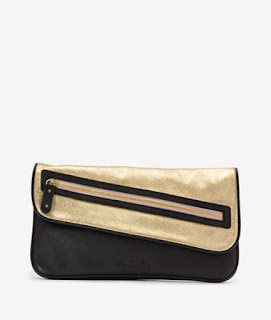 black and gold leather clutch bag