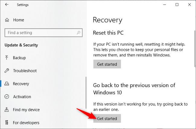 إلغاء تثبيت تحديث Windows 10 لشهر مايو 2020