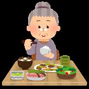 食事をしているお婆さんのイラスト
