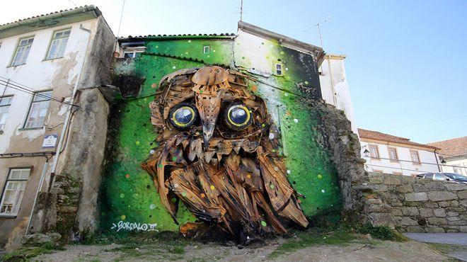 Burung Hantu - Seni Lukisan Binatang Menakjubkan Dan Kreatif Dari Bahan Sampah