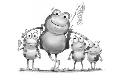 illustration of Bug Belly the hungry frog and his nephew and niece.