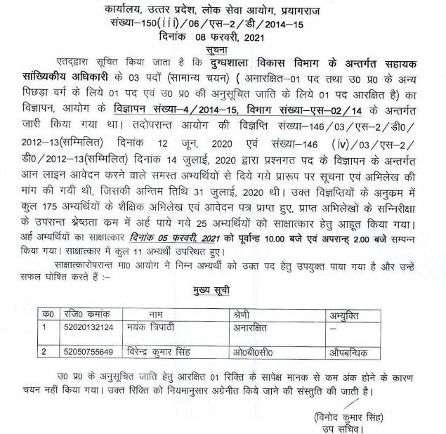 DEPTT. U.P. / ASSISTANT STATISTICAL OFFICER