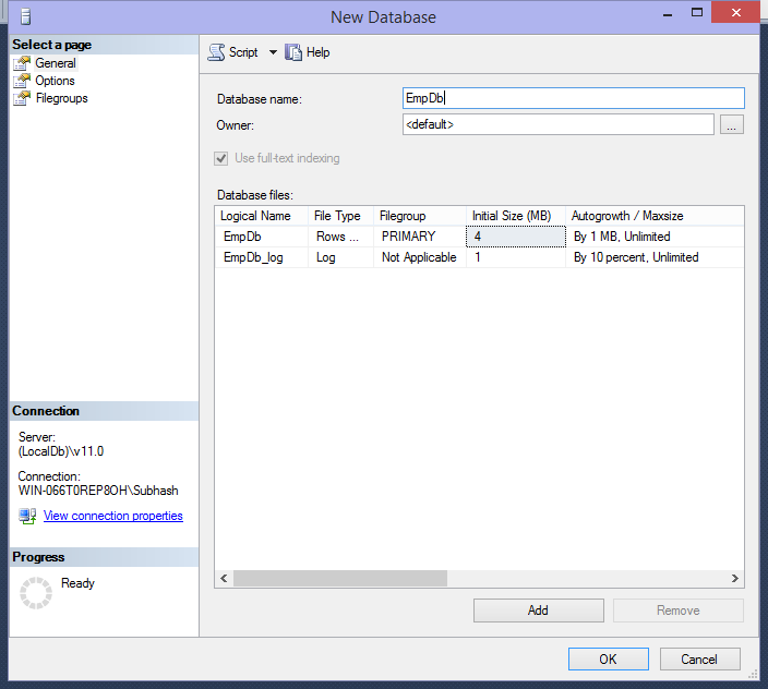 New Database in SQl server management studio
