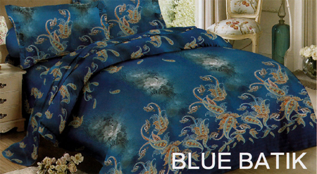 Sprei Red Rose Blue Batik