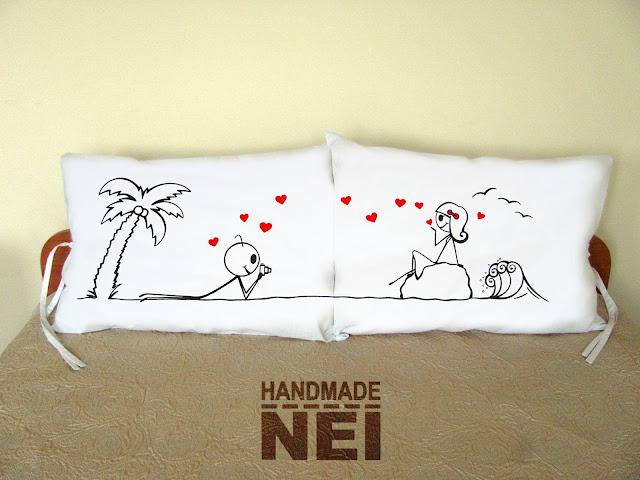 """Handmade Nel: Калъфки за възглавници за влюбени """"Влюбени в нея"""""""