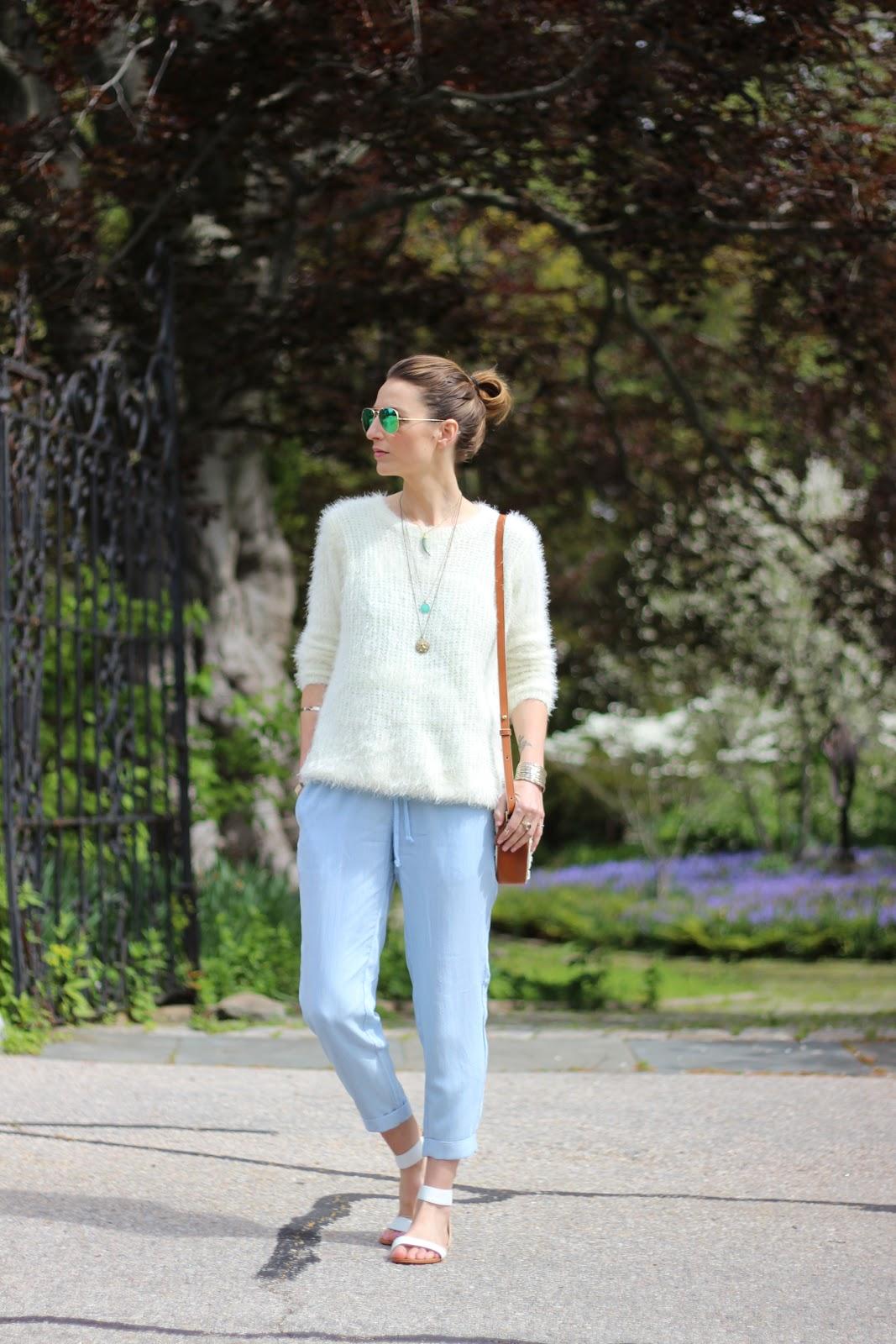 Jess Ann Kirby, chambray jumpsuit, yosi samra cambelle flats, chicwish sweater