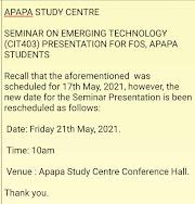 Seminar Presentation Date Resheduled