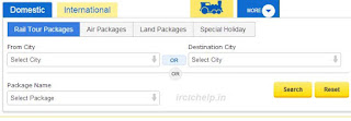 IRCTC Tour Package Booking Web Page Online
