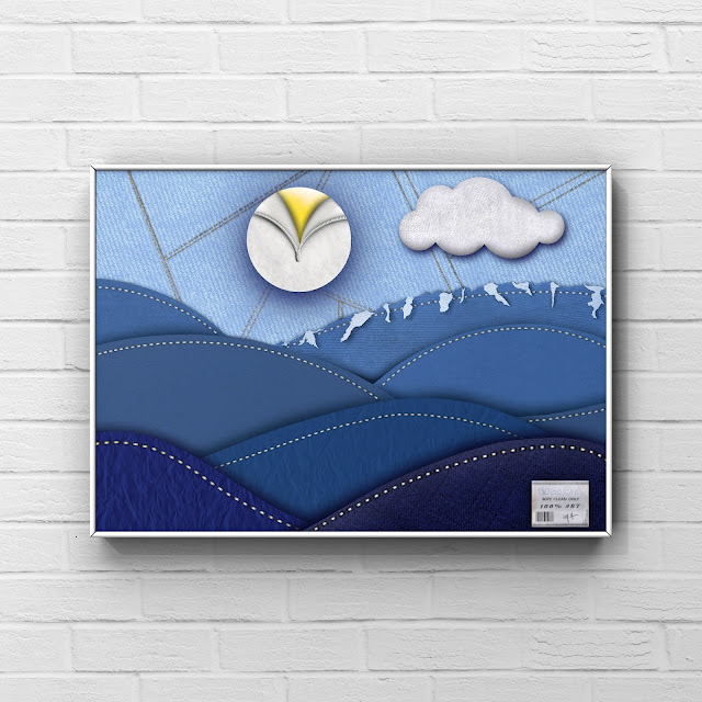 fabric art, landscape, blue mountains, framed, brick wall,