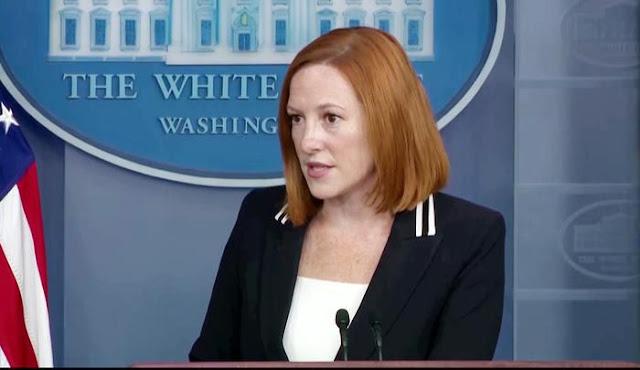Bà Jen Psaki phát ngôn nhà trắng trả lời câu hỏi của phóng viên